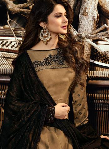 Beige and Black Embroidered Anarkali