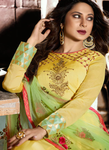 Yellow and Green Embroidered Anarkali