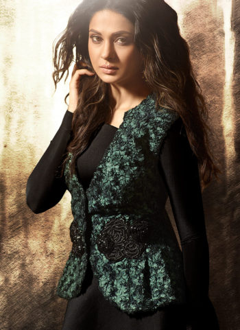 Black Embroidered Jacket Style Gown
