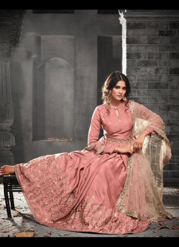 Light Pink Floral Embroidered Anarkali