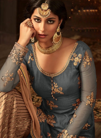 Grey and Beige Embroidered Gharara Suit