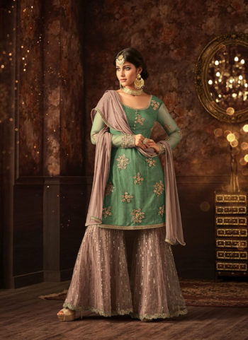 Green and Grey Embroidered Gharara Suit