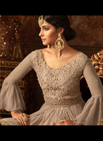 Light Grey Embroidered Gharara Suit