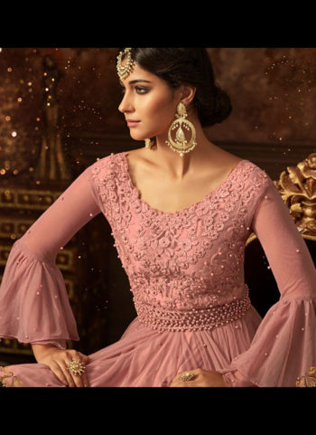 Light Pink Embroidered Gharara Suit