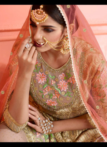 Gold and Grey Embroidered Gharara Suit