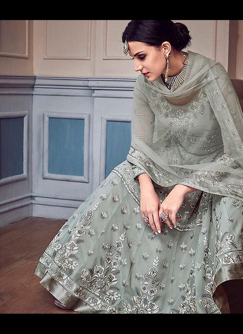 Grey Embroidered Anarkali