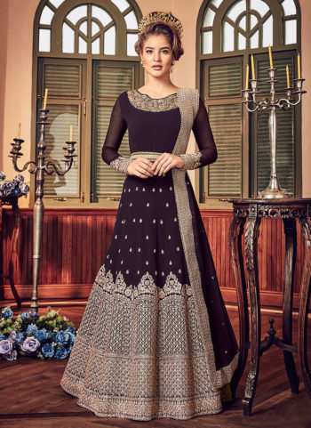 Deep Wine and Gold Embroidered Anarkali