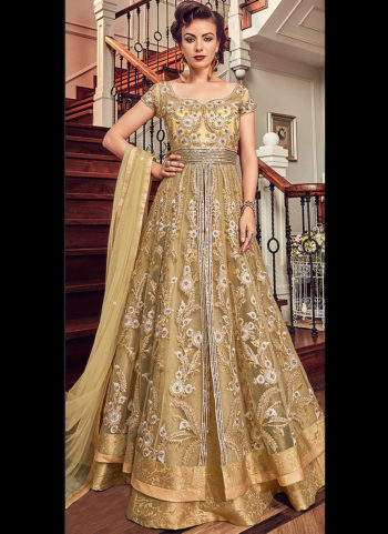 Golden Beige Embroidered Lehenga Anarkali