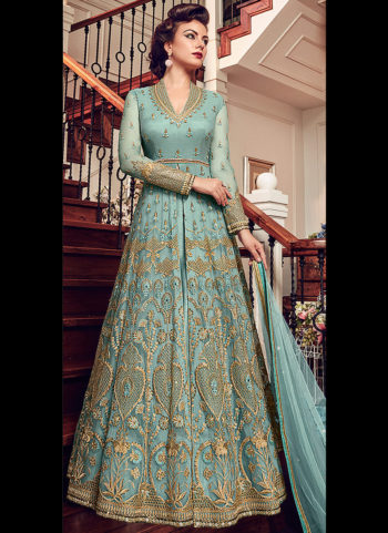 Light Blue Embroidered Lehenga/ Pant Style Anarkali