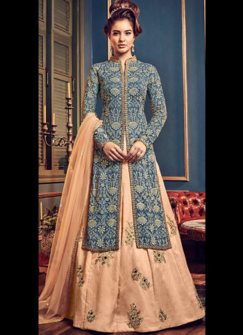 Blue and Peach Embroidered Lehenga Anarkali