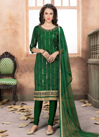 Green and Gold Mirror Work Straight Suit