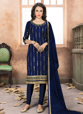 Blue and Gold Mirror Work Straight Suit