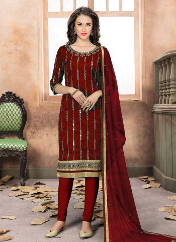 Red and Gold Mirror Work Straight Suit