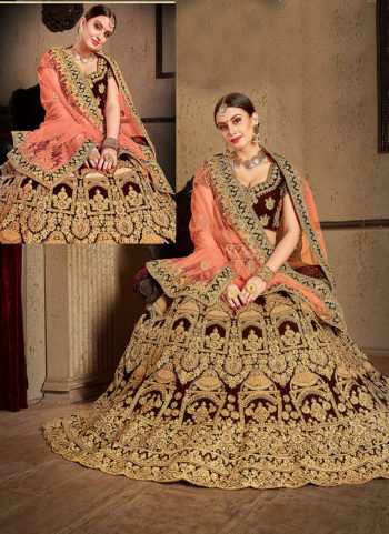 Wine and Gold Heavy Embroidered Lehenga