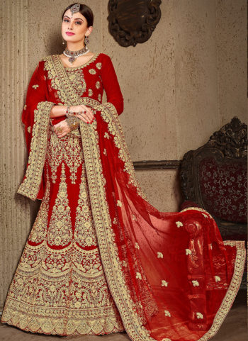 Red and Gold Heavy Embroidered Lehenga