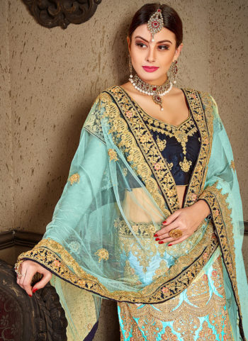 Sky Blue and Gold Heavy Embroidered Lehenga