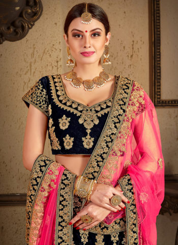 Navy Blue and Gold Heavy Embroidered Lehenga