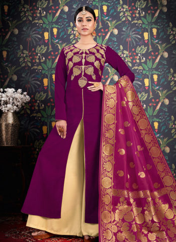 Purple and Cream Embroidered Palazzo Suit