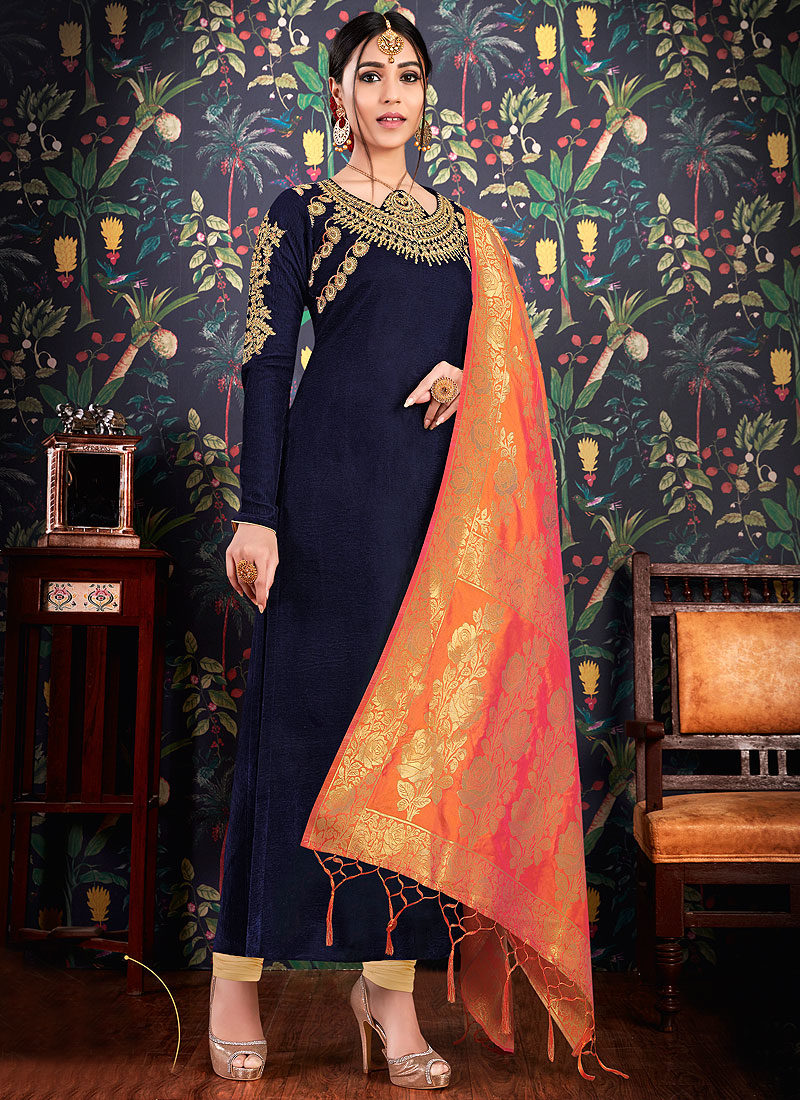 Blue and Cream Embroidered Straight Suit