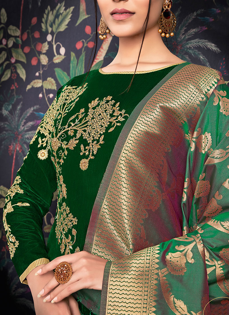 Green and Cream Embroidered Straight Suit