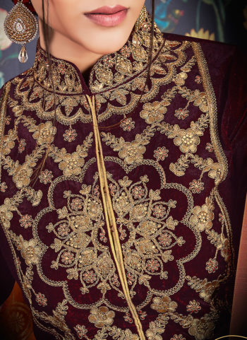 Maroon and Cream Embroidered Palazzo Suit
