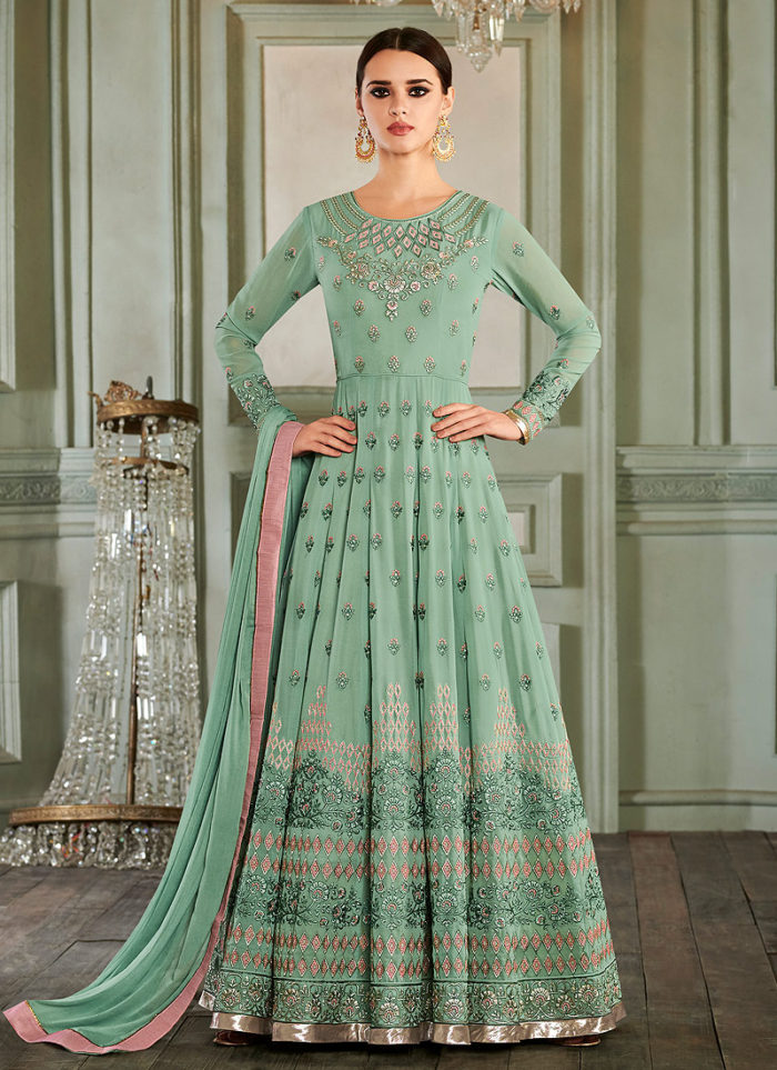 Sea Green Embroidered Anarkali