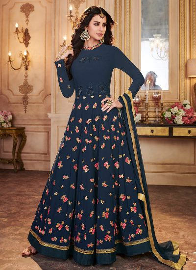 Dark Blue Floral Embroidered Anarkali