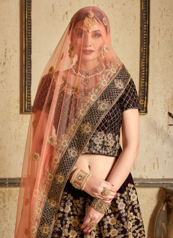 Black and Gold Heavy Embroidered Lehenga
