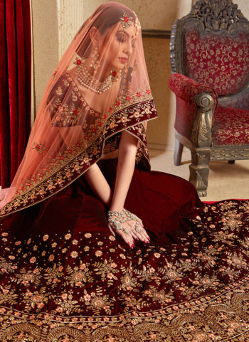 Maroon and Gold Heavy Embroidered Lehenga