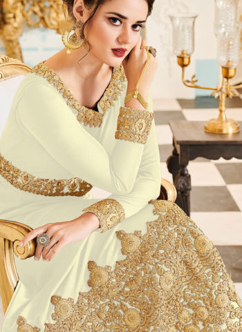 Cream and Gold Embroidered Gown