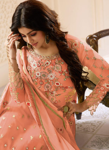 Light Orange and Gold Embroidered Straight Suit