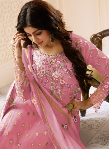 Light Purple and Gold Embroidered Straight Suit