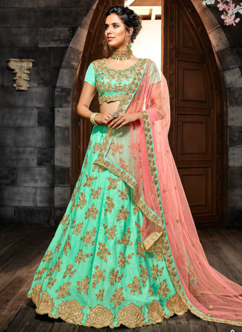 Sea Green and Gold Embroidered Lehenga