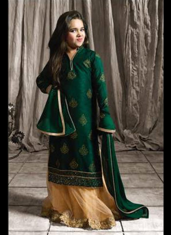 Green and Beige Embroidered Suit