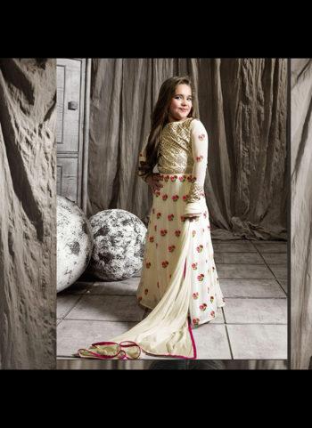 White Floral Embroidered Anarkali
