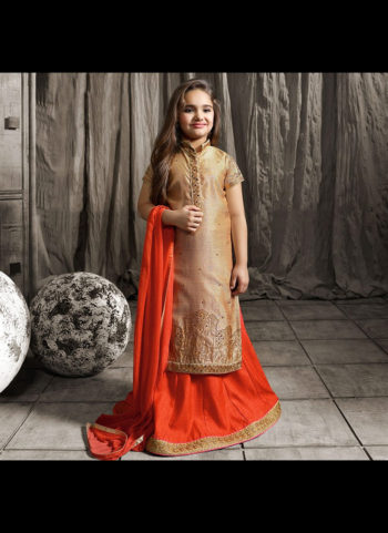 Beige and Red Embroidered Lehenga