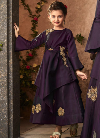 Purple and Gold Embroidered Gown