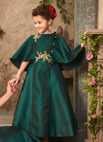 Bottle Green and Gold Embroidered Gown
