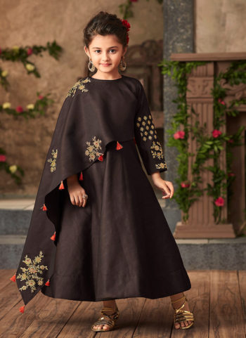 Dark Grey and Gold Embroidered Gown