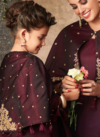 wine and Gold Embroidered Gown