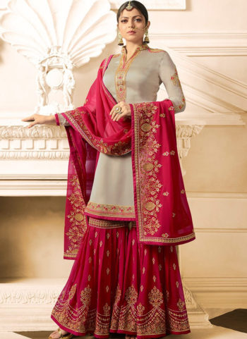 Grey and Pink Embroidered Gharara Suit