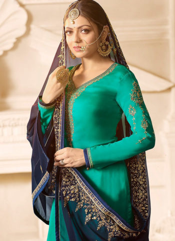 Teal and Blue Embroidered Gharara Suit