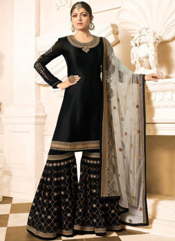 Black and Gold Embroidered Gharara Suit