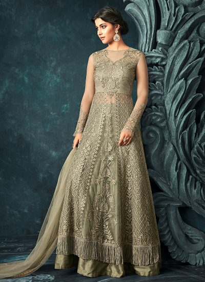 Light Moss Embroidered Lehenga/ Pant Style Anarkali