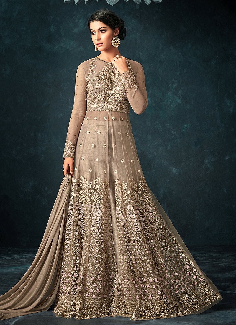 Beige Embroidered Lehenga/ Pant Style Anarkali