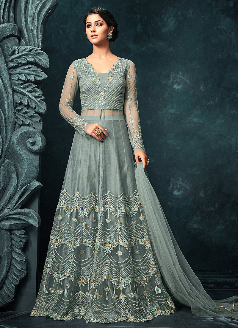 Blue Grey Embroidered Lehenga/ Pant Style Anarkali