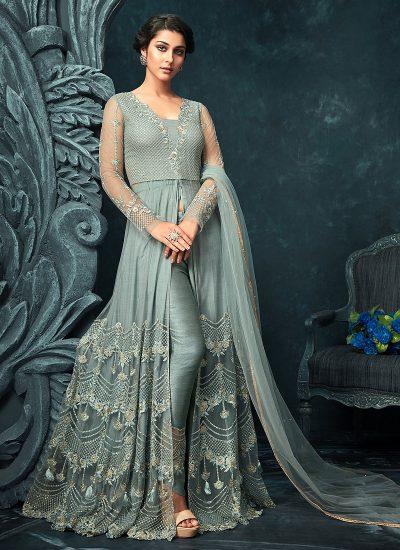 Blue Grey Embroidered Lehenga/ Pant Style Anarkali