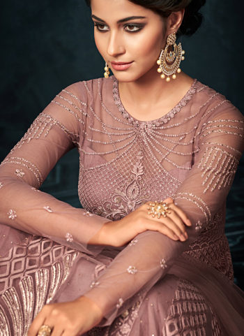 Light Purple Embroidered Anarkali Gown