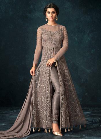 Dark Grey Embroidered Lehenga/ Pant Style Anarkali