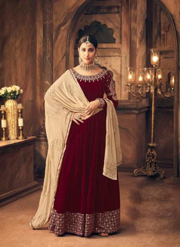 Red Embroidered Velvet Anarkali